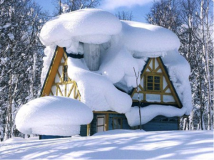 House covered by snow