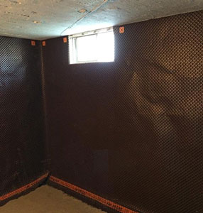 interior waterproofing of a basement
