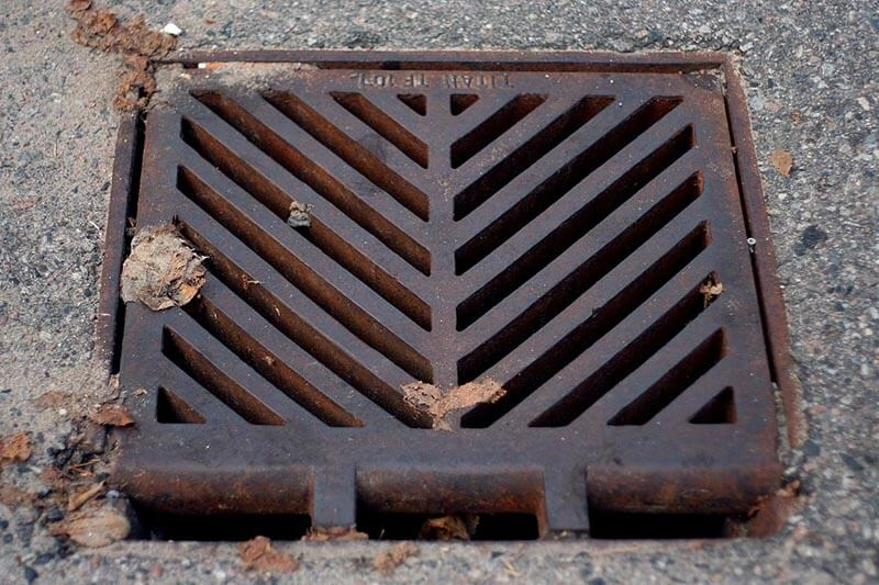 downward angle of a storm drain