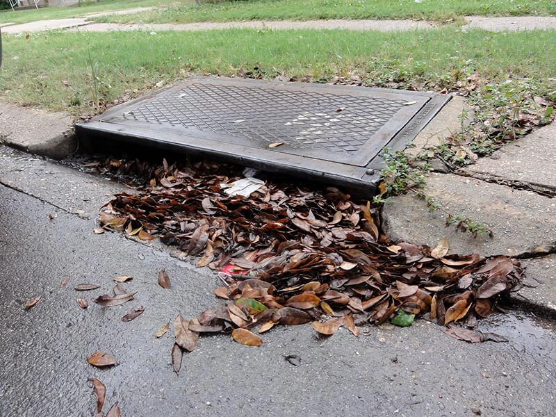 debris blocked catch basin