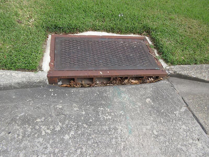 residential catch basin in the lawn