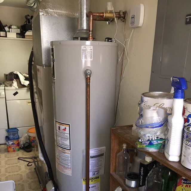 water heater installed in laundry room