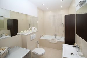 residential bathroom with slow draining toilet