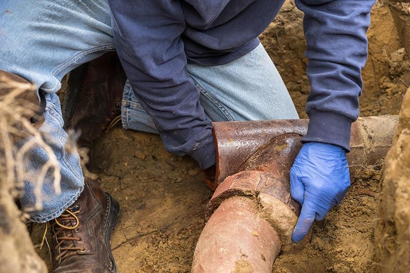 plumber repairing a drain