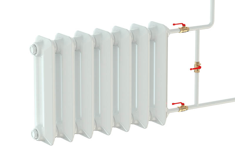 white hot water radiator red valves