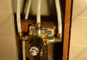 shower plumbing being installed