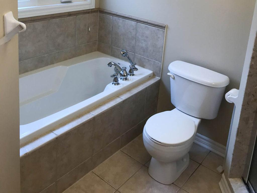 Clogged bathroom tub with toilet